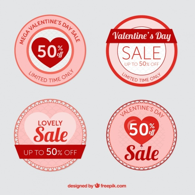 Round valentine's labels with great discounts