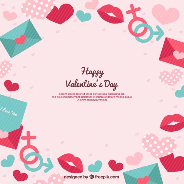 Pink striped background with valentine's elements