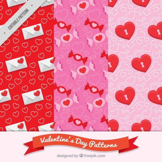 Collection of three flat patterns for valentine's day