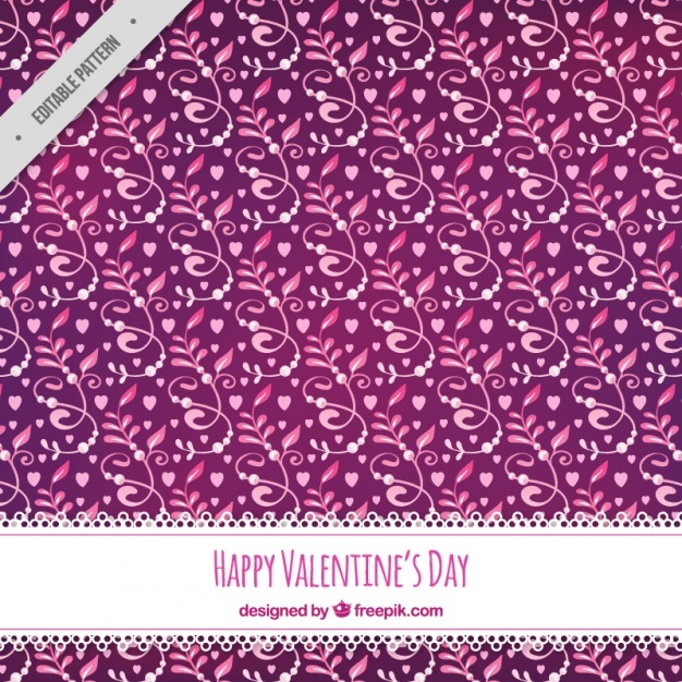 Pink happy valentine day pattern with flowers