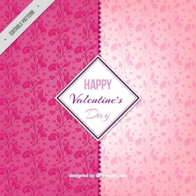 Pink valentine day floral pattern