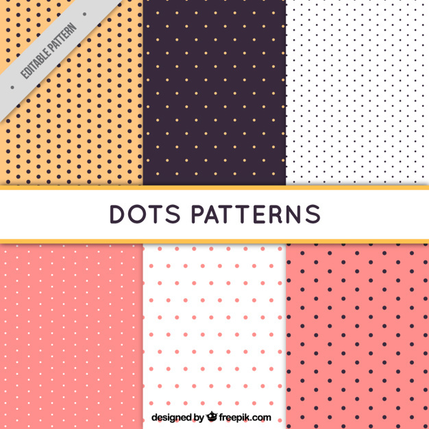 Six patterns with dots