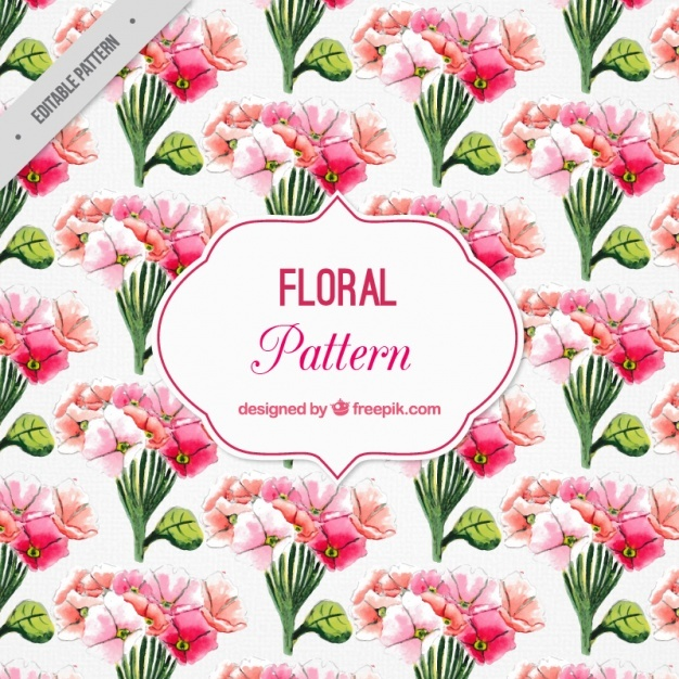 Watercolor pattern with red flowers