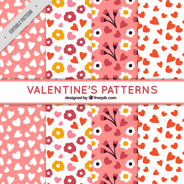 Hand-drawn valentine's patterns with hearts and flowers