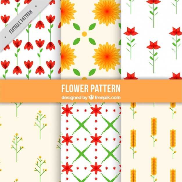 Pack of geometric floral patterns
