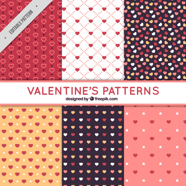 Flat patterns with variety of hearts for valentine's day