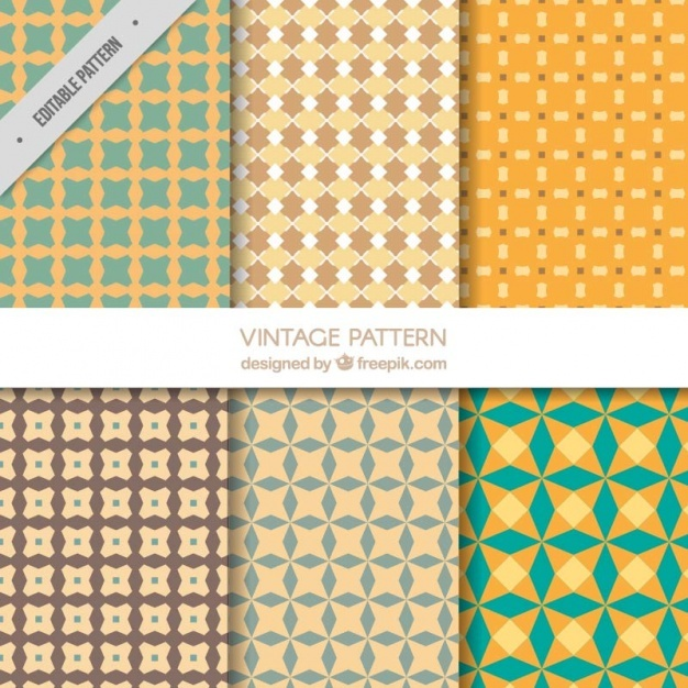 Six vintage patterns with geometric shapes