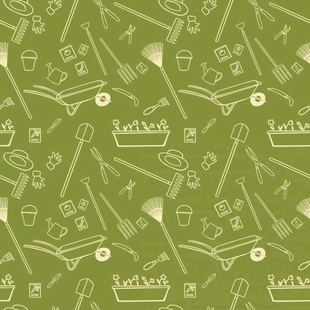 Green pattern with farm elements