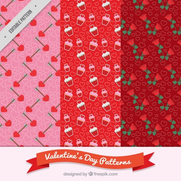 Pack of three decorative patterns for valentine's day