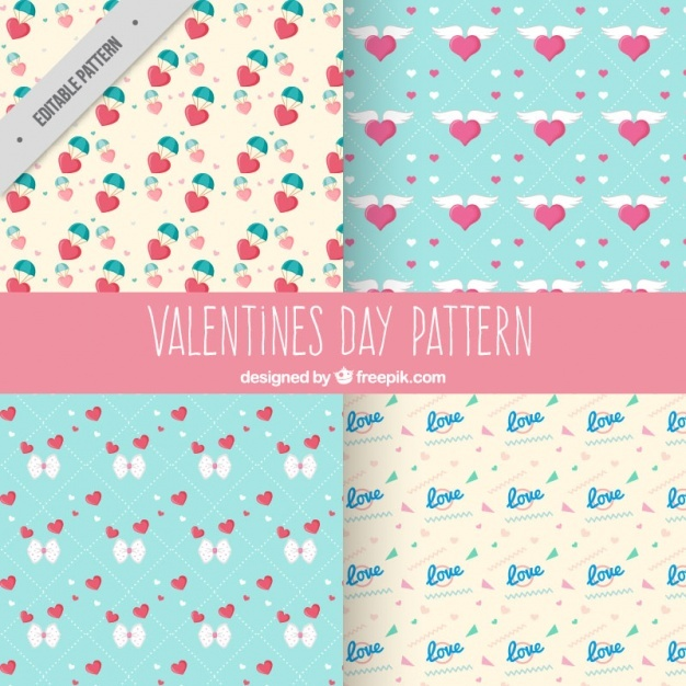 Four valentine's day patterns in pastel colors
