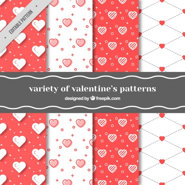 Variety of valentine's day patterns with hearts