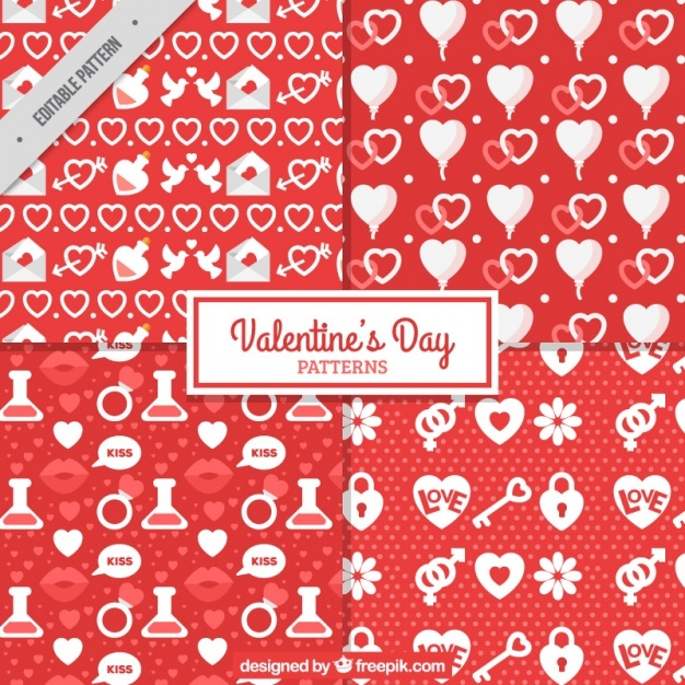 Red and white patterns for valentine's day
