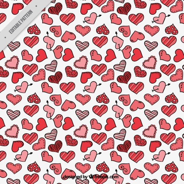 Romantic pattern with different types of hearts