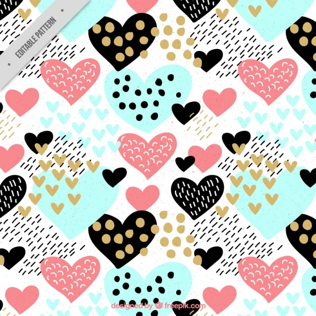 Colorful pattern with hearts and dots in vintage style