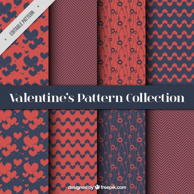 Set of elegant abstract valentine patterns