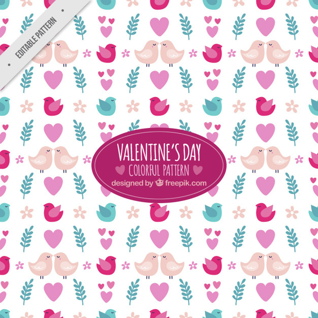 Decorative valentine pattern with leaves and birds