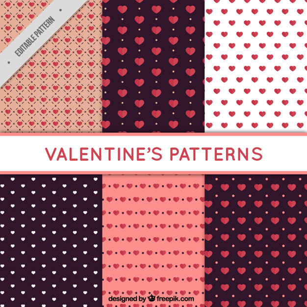 Valentine's patterns with hearts in flat design