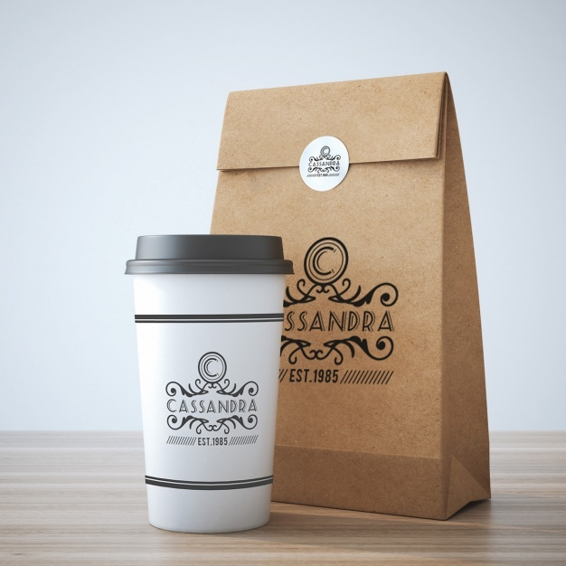 Take away coffee cup and bag mock up design