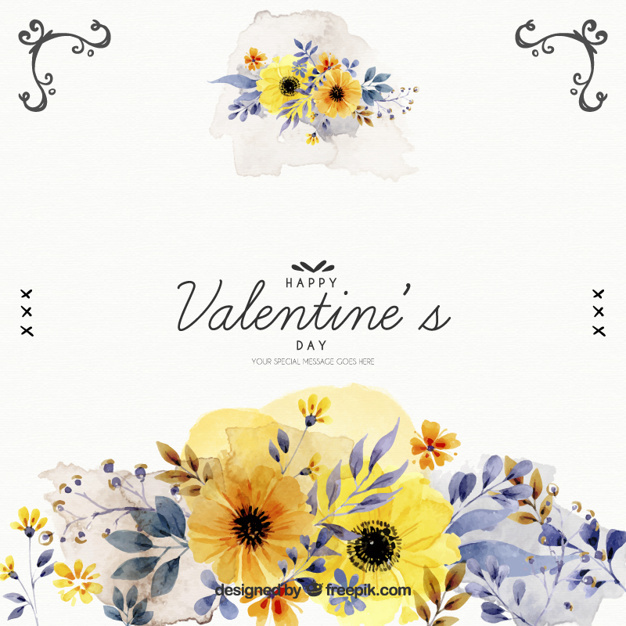 Watercolor flowers of valentine background