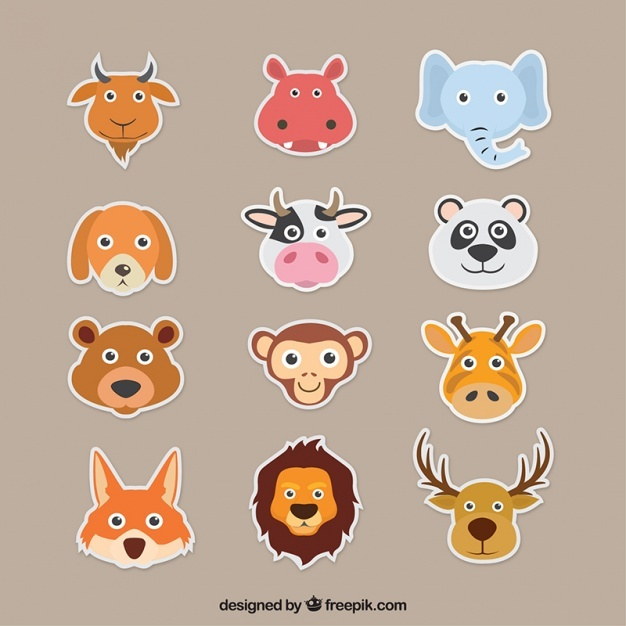 Decorative pack of colorful animals in flat design
