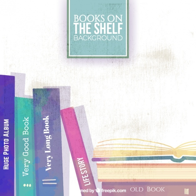 Watercolor background of books on shelf