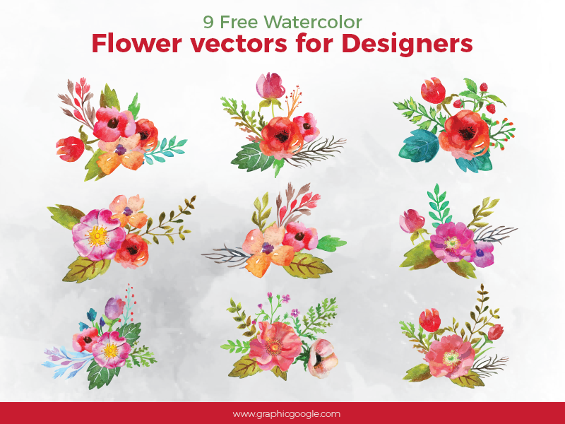 9 Free Watercolor Flower Vectors For Designers