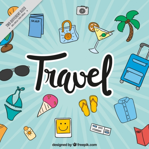 Retro background with summer travel accessories