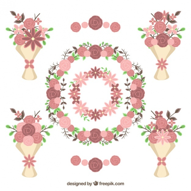 Collection of floral decoration for valentine's day