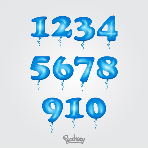 Metallic balloon numbers set