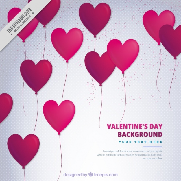 Dotted background with heart-shaped balloons for valentine's day
