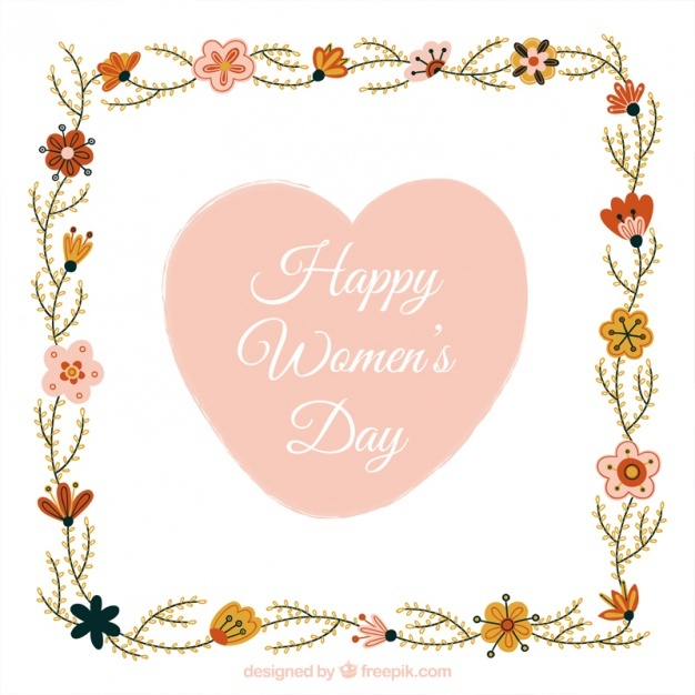 Women's day background with floral frame