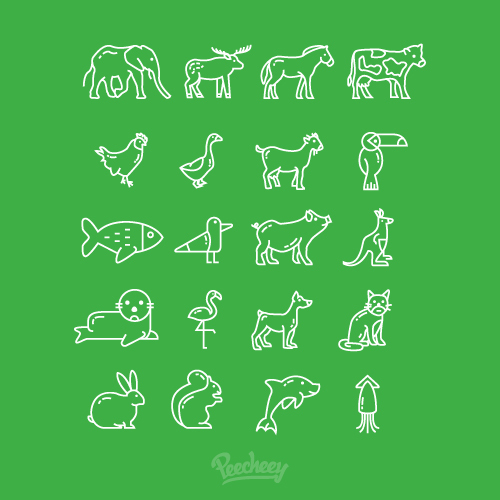 Line set of silhouettes of animals