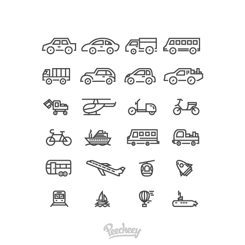 Vehicles and transportation icons