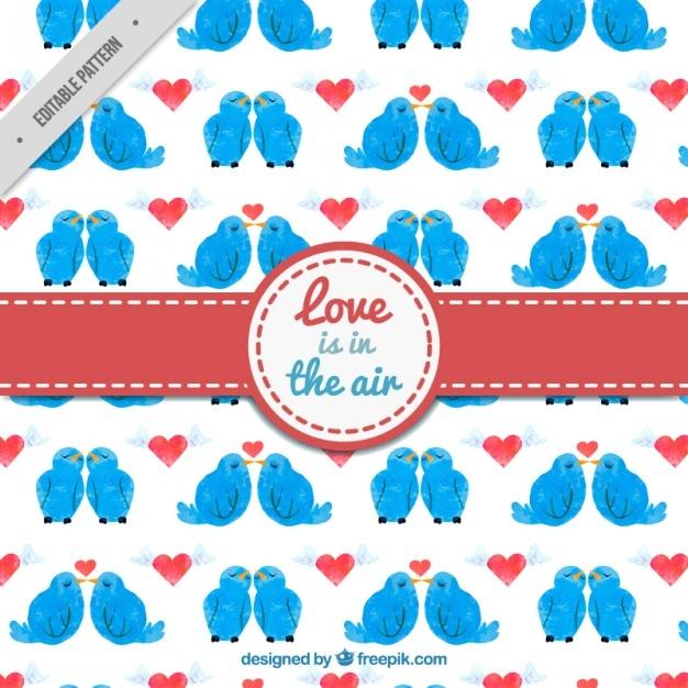 Watercolor bird in love pattern