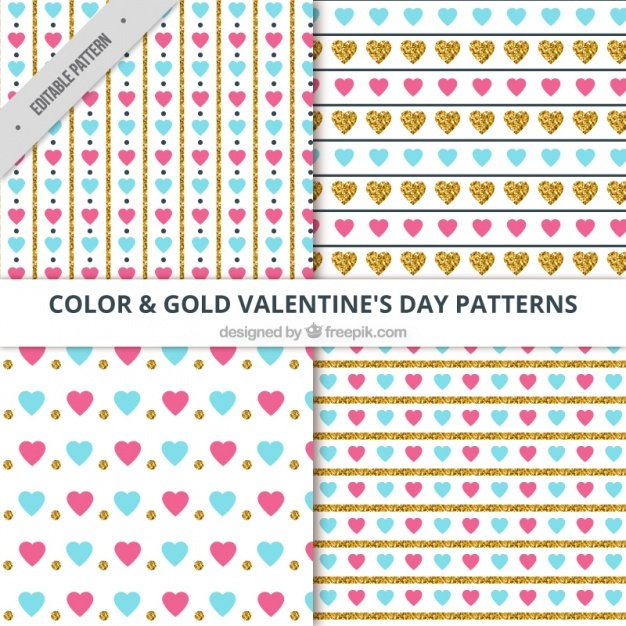 Various decorative valentine's patterns