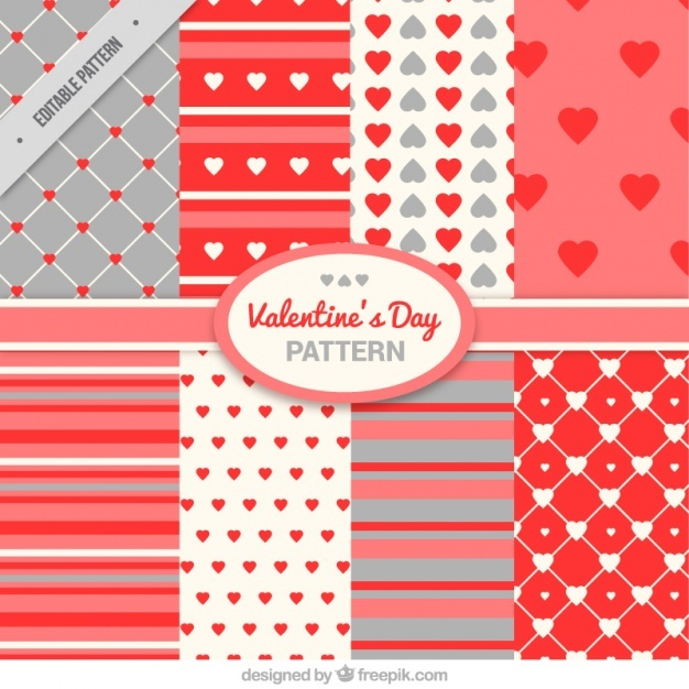 Pack of hearts and stripes patterns for valentine