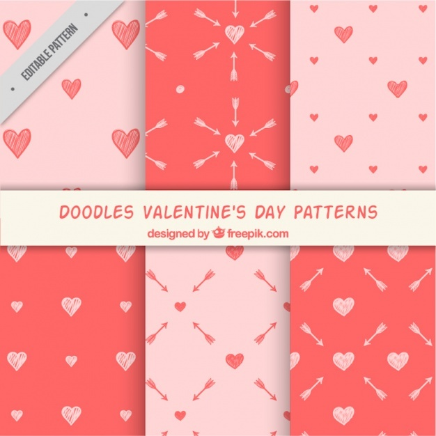 Valentine's hand drawn patterns set of arrows and hearts
