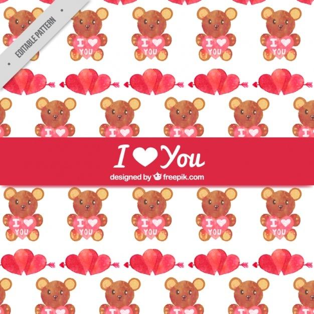 Watercolor bears pattern