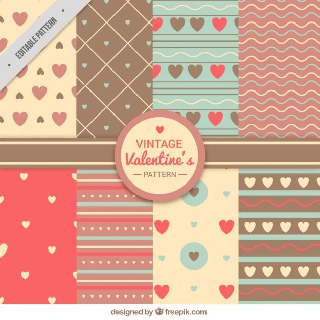 Set of retro valentine patterns