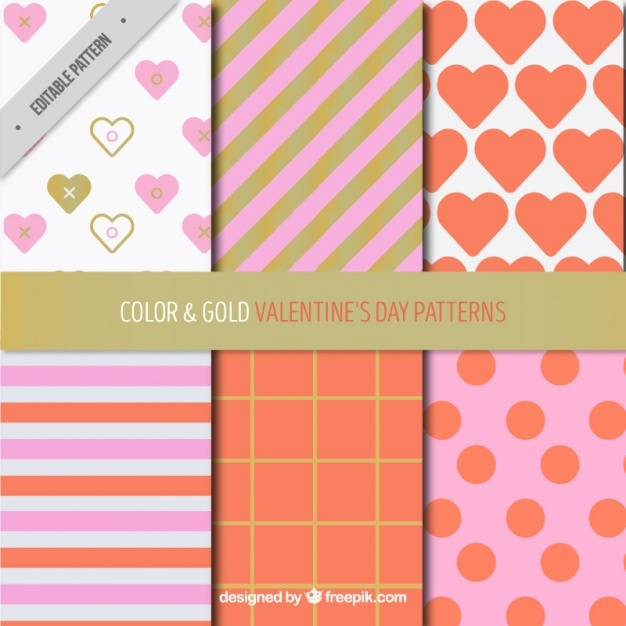 Pack of six valentine's day patterns with golden details