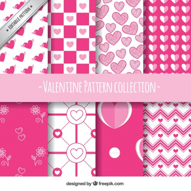 Flat set of eight white and pink patterns for valentine's day