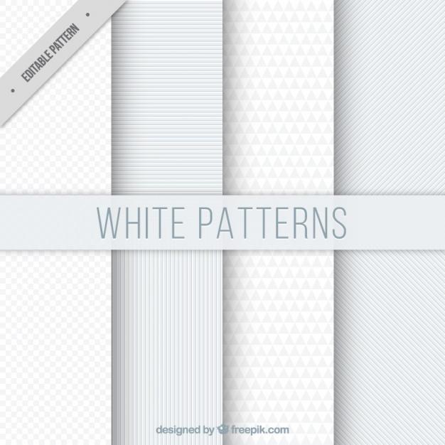 Set of white geometric patterns