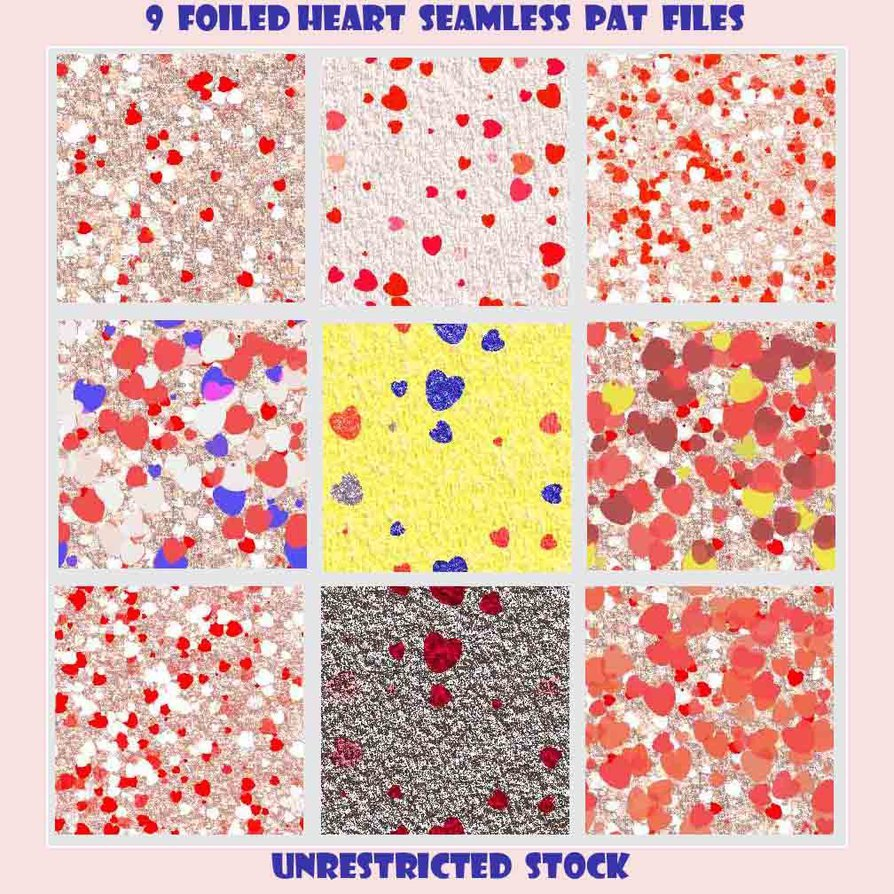 9 Foiled Hearts Seamless PAT Files