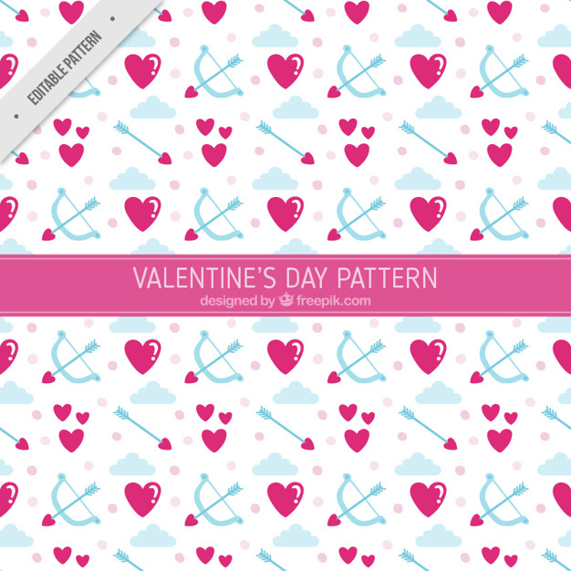 Decorative pattern of hearts and arrows
