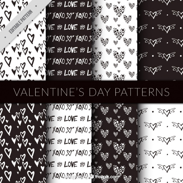 Patterns of sketches of hearts
