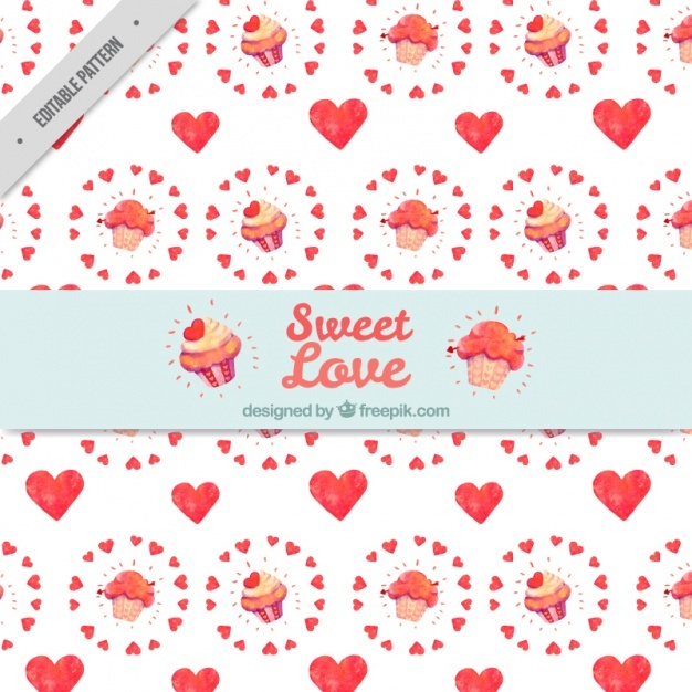 Cupcake pattern with watercolor hearts