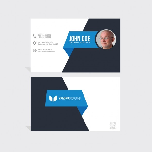 Polygonal shapes blue and black business card