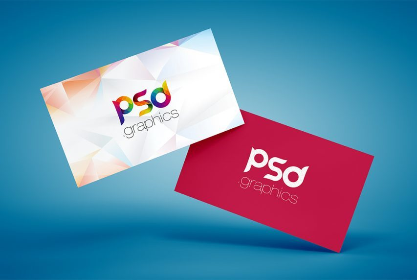 Floating Business Card Mockup Free PSD