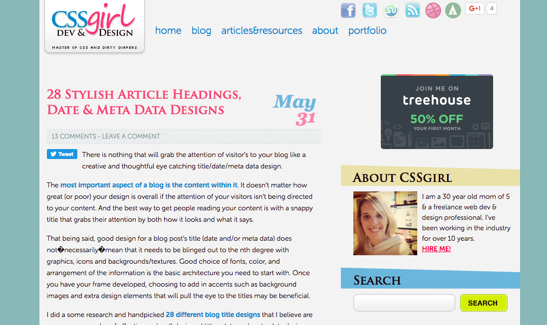 28 Stylish Article Headings, Date & Meta Data Designs