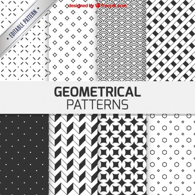 Geometrical patterns in black and white color